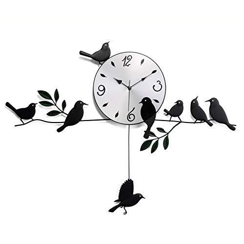 y Hübsch Moderne persönlichkeit Mode Kreative Einfachheit Schwarz Weiß Vogel Grün Kunststoff Metall Hotel Schlafzimmer Studie Wohnzimmer Wanduhr Dekoration Uhr Mode ()
