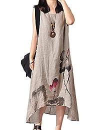 Vestidos De Verano Elegante Algodón Mujeres Y Lino Vestidos Mode De Marca Florales Layer Vestido Maxi