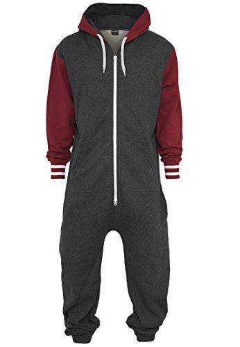 Urban Classics Herren College Sweat Jumpsuit TB629 Regular Fit, Größe M/L, Farbe charcoal/ruby