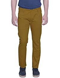 Nimegh Dark Khaki Colored Cotton Casual Solid Trouser For Men's