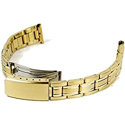Stalux Replacement Watch Strap Stainless Steel Band IP yellow Gold 14 mm - 16 mm 786212