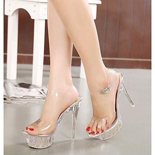 ZFAFA Zapatos Cristal Mujer Tacón Alto Crystal Plataforma