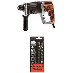 Black + Decker KD990KA Perforateur pneumatique 850 W + Piranha Jeu de forets SDS pour maçonnerie 5/6/8/10 mm