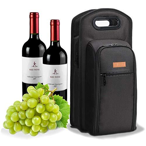 Esta bolsa de enfriador de vino con accesorios ajustados ha sido diseñada para acomodar dos botellas de vino.  Las paredes térmicas gruesas crean una bolsa completamente aislada que garantiza que dos botellas se puedan mantener frías o calientes dura...