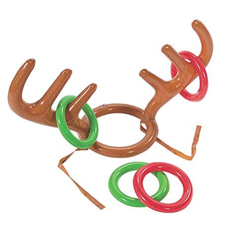 2 Geweih (TOYMYTOY Ring-Wurf-Spiel Zwei-Spieler-aufblasbares Rentier-Weihnachtsgeweih-Ring-Wurf-Spiel für Weihnachtsfest, 2 Geweihe, 8 Ringe)