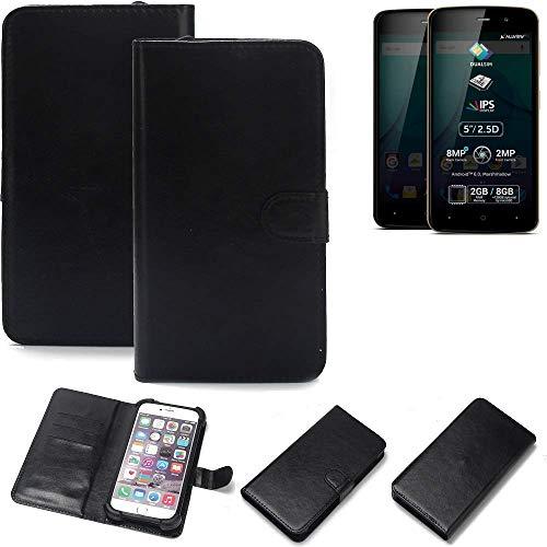 K-S-Trade 360° Wallet Case Handyhülle Allview P6 Plus Schutz Hülle Smartphone Flip Cover Flipstyle Tasche Schutzhülle Flipcover Slim Bumper schwarz, 1x