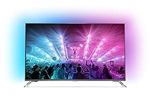 Philips 49PUS7101/12 124,5 cm (49 Zoll) Ultraflacher Android 4K-Fernseher mit 3-seitigem Ambilight und PixelPrecise Ultra HD dunkelsilber