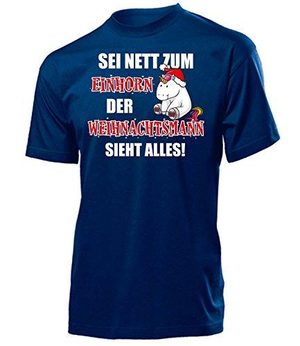 EINHORN WEIHNACHTSMANN - SEI NETT ZUM EINHORN DER WEIHNACHTSMANN SIEHT ALLES 5970 Herren T-Shirt (H-N) Gr. (Kostüm Bilder Kondom)