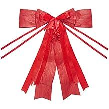 Lazo rojo para coche o regalo, grande, neutro, elegante y llamativo, de 45 x 50 cm.