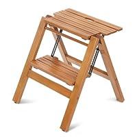Mondex mon8810-102Folding 2Tread Step Ladder Stool Solid Wood Cherry Finish 45x 43x 47cm
