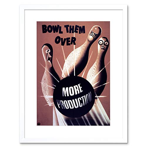 PROPAGANDA WAR WWII USA TEN PIN BOWLING DECO BLACK FRAMED ART PRINT B12X7221 Bowling-art-deco
