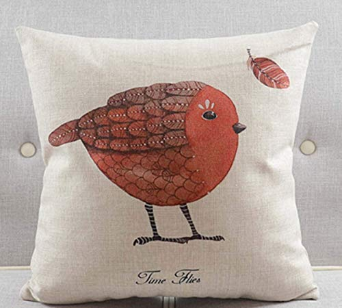 Kotdeqay Cotton Linen Throw Pillow Case Cushion Cover Home Decorative Red Bird 18 X 18 Inch -