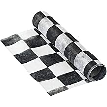 Talking Tables Truly Alice in Wonderland Check Fabric Table Runner for a Tea Party or Birthday, Monochrome (200 x 30cm)