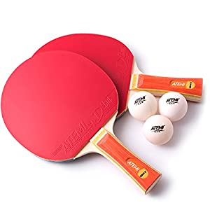 Atemi Table Tennis Bats Set (2 x Bats, 3 x Balls) Glory Series - ITTF Approved Table Tennis Bats & Balls - Ideal Gift Starter Pack for Beginner to Advanced Players Review 2018 by Atemi