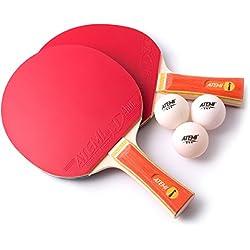 Set De Tenis De Mesa (2 X Raquetas, 3 X Pelotas) Serie Glory - 2 Palas Y 3 Pelotas De Ping Pong Homologadas Por ITTF - Regalo Ideal Para Principiantes Y Jugadores De Nivel Avanzado