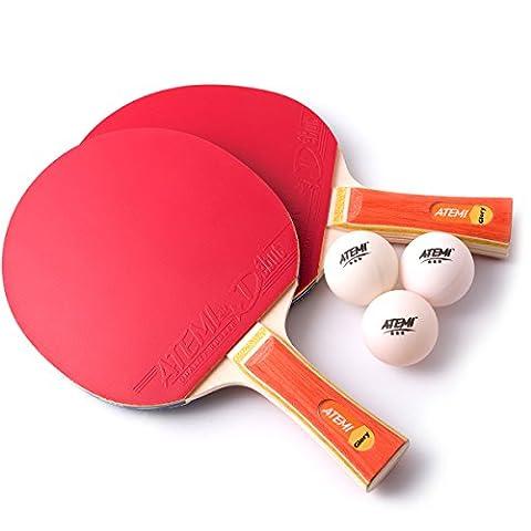 Atemi Table Tennis Bats Set (2 x Bats, 3 x Balls) Glory Series - ITTF Approved Table Tennis Bats & Balls - Ideal Gift Starter Pack for Beginner to Advanced