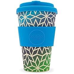 Stargate Ecoffee Copa? 340/340ml? reutilizable bambú taza de café? Azul y verde patrón reutilizable taza de café