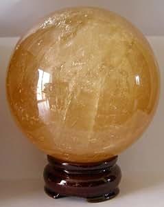 Grand 89mm (env. 1024G) Citrine (Améthyste) à quartz cristal Sphère ORB sur support en bois