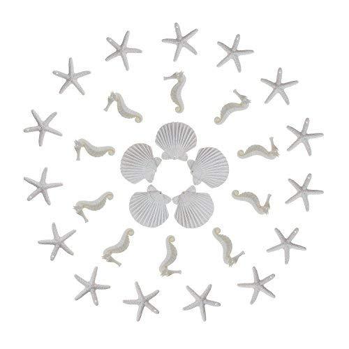Bleistift Finger weiß Seestern Seepferdchen Muscheln sortiert mit vorgebohrten Loch für Crafts Home Hochzeit Decor ()
