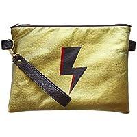 Bolso de piel de alta calidad, pintado a mano, con diseño de rayo en dorado. Cartera de mano, Clutch.