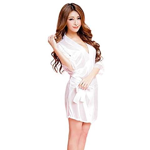 Lingerie Sexy, Feiliandajj Amour Robe transparente Femme Ensemble nuisette Sous-vêtements Ensemble de Pyjama Tenue Chambre à coucher Lune de miel Sleepshirt Taille unique blanc