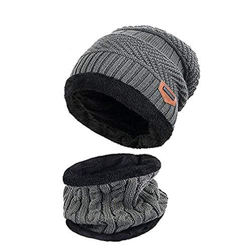 Kinder Winter Mütze Hut Schal Set Warme Dicke Knit Ski Schädel Cap mit Fleece Futter für Kinder Jungen Mädchen