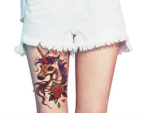 ljmljm 3 Pz Bella Tatto Fumetto Braccio Autoadesivo del Tatuaggio del Cavallo a Mano del Tatuaggio del Piede Tato per la Ragazza Le Donne Menbaba Grou Grigio Chiaro 19x12cm