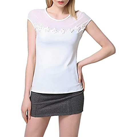 Pannelli Di Rete Trasparente 3D Flower Trimmed Basic Base T-Shirt Chemisier Tee Top Superiore Bianco