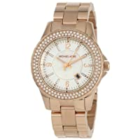 Michael Kors Ladies White Dial Rose Gold Stainless Steel Band Watch [MK5403]