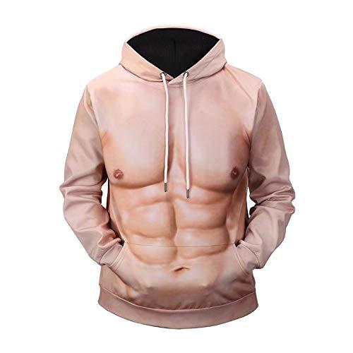 MICOKY Mit Kapuze Strickjacke Frauen Kleidung 3D Muskel Männer Druck Langarm Paar Rundhals Sweatshirt -