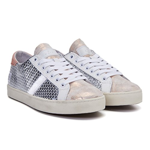 D.A.T.E. HILL PONG SILVER-PINK sneaker donna in pelle, Argento, EUR 38