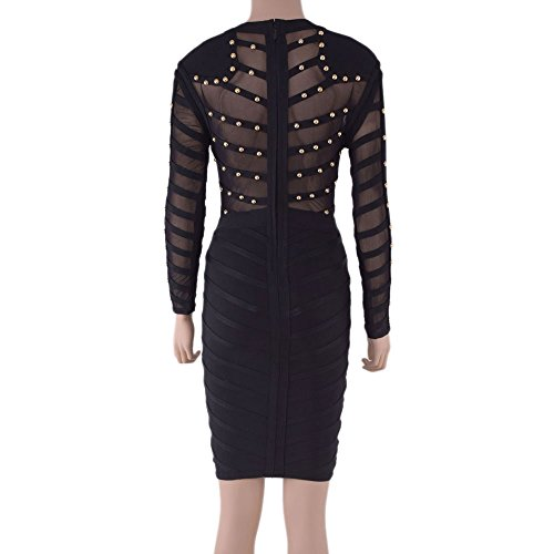 HLBandage Long Sleeve Mesh Beaded Knee Length Rayon Bandage Dress Noir