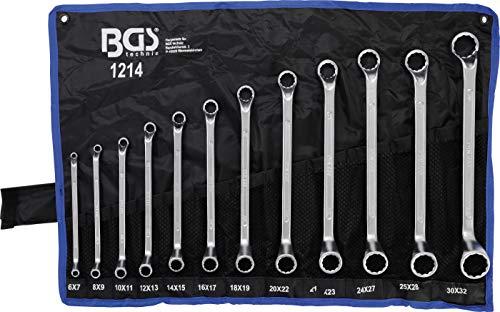 BGS 1214 | Doppel-Ringschlüssel-Satz | 12-tlg. | gekröpft | SW 6 x 7 - 30 x 32 mm | inkl. Tetron-Rolltasche | CV-Stahl