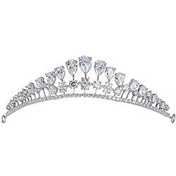 EVER FAITH® Silver-Tone Cubic Zirconia Princess Style Tear Drop Crown Head Band Tiara Clear