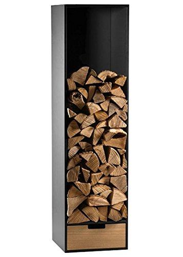 Preisvergleich Produktbild Conmoto Brennholzregal HPL schwarz Eiche Schubkasten Kaminholzstappler
