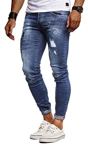LEIF NELSON Herren Hose Jeans Stretch Jeanshose Chino Cargo Hose Jogger Freizeithose Denim Slim Fit LN9315; W29L32, Blau | 04251510261900