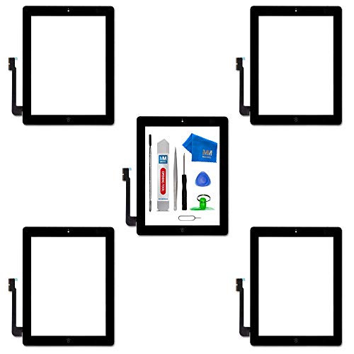 MMOBIEL 5er Pack Digitizer Display Glas für iPad 3 (Schwarz) 9.7 Inch Touchscreen Ersatzteil Inkl Flex Home Button + Kamera Halterung + Klebesticker und Werkzeugset mit Anleitung