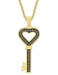 "Silvernshine 1.28 Ct Round Citrine Heart Lock Key Pendant 18"" Chain 14K Yellow Gold Fn 925 Silver"