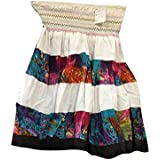 Mogul Interior Womens Mini Skirt White Smocked Waist Gypsy Bohemian Skirt