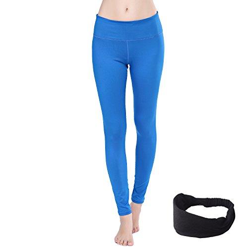 Damen Leggings lang Sport Yoga Hose Stretch Workout Schwarz mit Tasche (M, Schwarz-L)
