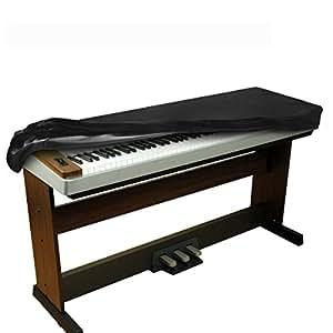 BALFER Estensibile Velluto Copertura Antipolvere Tastiera di Pianoforte per 88 Tasti-Tastiera (Nero)