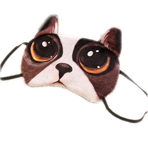 XIAOL Home Weiche Plüsch Satin Augenmasken Bulldog Style Schlafmaske Komfortable LightweightBreak