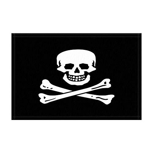 en-Schädel-Badeteppiche beängstigendes Schädel-Skelett in der schwarzen Duschmatte Fußmatte 15.7X23.6in für Inneneinrichtungen Badezimmer-Boden-Teppich ()