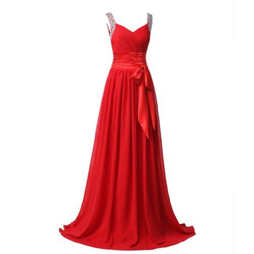 Elegante Sunvary Line sera vestito Dollie Organza A maniche lunghe con vestito da sera con strass Borgogna