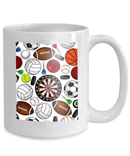Mug Coffee Tea Cup Seamless Pattern Sport Items White Soccer American Football Basketball Baseball Volleyball Tennis 110z