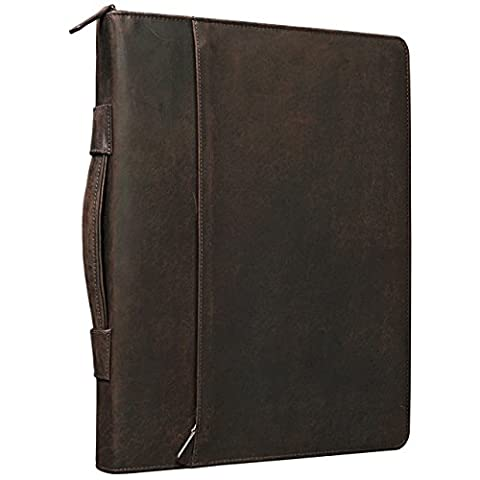 STILORD 'Justus' Vintage Conference Folder with Handle A4 Leather Portfolio Document Folder Sophisticated Vintage Design fit for 13,3 MacBooks genuine leather, Colour:mahogany brown - Pelle Cartella Sottile
