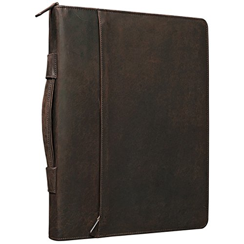 STILORD 'Justus' Vintage Conference Folder with Handle A4 Leather Portfolio Document Folder Sophisticated Vintage Design fit for 13,3 MacBooks genuine leather, Colour:mahogany brown