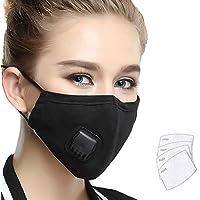 Máscara antipolución Lyanty Grado militar Máscara N99 Máscaras de boca lavables de algodón con filtro reemplazable de válvula (Una máscara + 4 filtros)