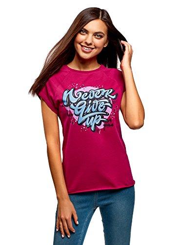 oodji Ultra Damen Baumwoll-T-Shirt mit Schriftzug, Rosa, DE 34 / EU 36 / XS