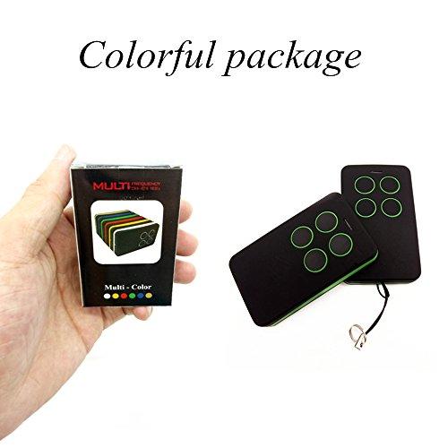 Duplicador de control remoto universal para puerta de garaje de 4 canales – Cara a cara copia transmisor de clonación con llavero de batería para código fijo de rodillo